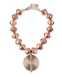 Nest | Metallic 18k Rose Gold-plated Beaded Pendant Necklace | Lyst