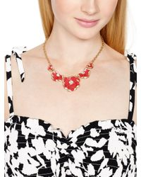 kate spade new york - Red 12k Gold-plated Geranium Crystal Bouquet Frontal Necklace - Lyst