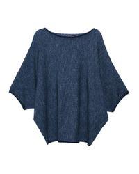 Violeta by Mango Blue Metallic Thread Jumper