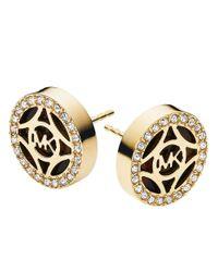 Michael Kors | Metallic Gold Tone-Plated Logo Studs | Lyst