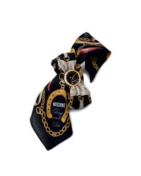 TOPSHOP - Womens Moschino Fashion Victim Black Scarf Watch with Interchangeable Black Strap Black - Lyst