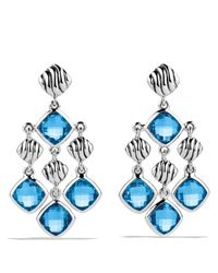David Yurman Sculpted Cable Chandelier Earrings With Blue Topaz