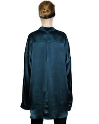 Haider Ackermann Blue Silk Satin Shirt