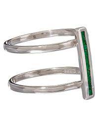 Anna Sheffield - Metallic Silver Pave Emerald Licol Ring - Lyst
