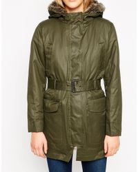 Mango | Green Coated Hooded Parka With Detachable Faux Fur Lining | Lyst