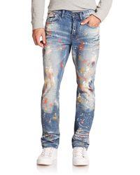 PRPS Blue Goodlife Slim-straight Paint-splattered Jeans for men