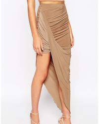 Club L | Brown Slinky Side Ruched Pencil Skirt | Lyst