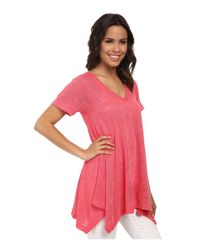 Nally & Millie | Red V-neck Short Sleeve Sharkbite Tunic | Lyst