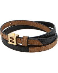 Fendi Double Wrap Leather Bracelet Black Choc