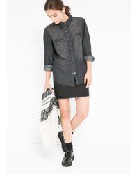 Mango - Gray Grey Denim Shirt - Lyst