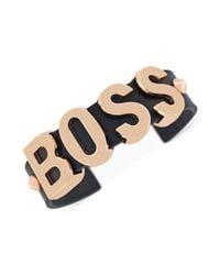 BCBGeneration Pink Rose Goldtone Boss Black Cuff Bracelet
