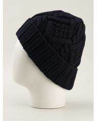 Moncler Blue Cable Knit Beanie Hat for men