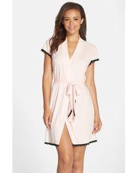 Betsey Johnson - Pink Rib Knit Robe - Lyst