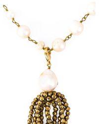 Rosantica - Metallic Faux Pearl Tassel Necklace - Lyst