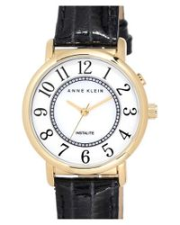 Anne Klein - Black Instalite Leather Strap Watch - Lyst