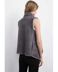 Velvet By Graham & Spencer - Gray Analucia Faux Fur Vest - Lyst