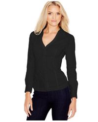 Guess | Black Long-sleeve Lace-up Shirt | Lyst