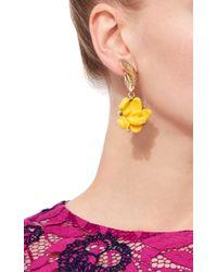 Oscar de la Renta - Yellow Flower Clip On Earrings - Lyst