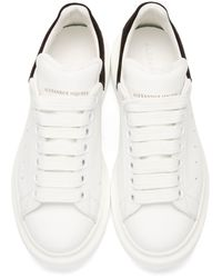 Alexander McQueen White Ivory & Black Leather Low-top Sneakers