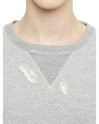 Miharayasuhiro Gray Destroyed Cotton Sweatshirt for men