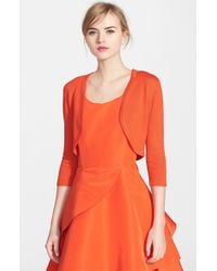 Oscar de la Renta | Orange Wool Blend Bolero | Lyst