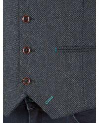 Racing Green Blue Empire Heavy Twill Waistcoat for men