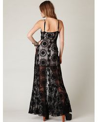 Free People | Black Queen Of Flowers Maxi Slip | Lyst