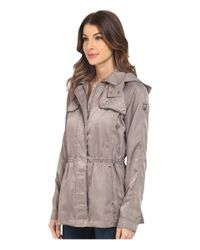 Vince Camuto - Gray Satin Look Parka K8571 - Lyst