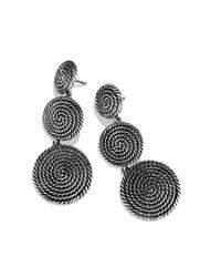 David Yurman | Metallic Cable Coil Tripledrop Earrings | Lyst