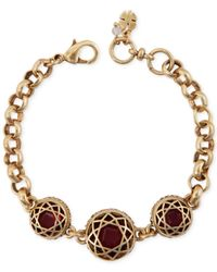 Lucky Brand - Metallic Gold-Tone Red Stone Bracelet - Lyst