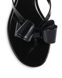 Valentino Black Couture Bow Jelly Flip Flops