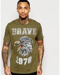 DIESEL T-shirt T-joe-b Crewneck Brave Eagle Foil Print In Green for men
