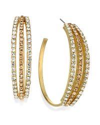 INC International Concepts - Metallic Goldtone Crystal Angel Peach Threerow Hoop Earrings - Lyst
