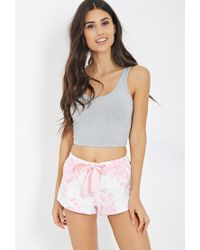 Forever 21 - Pink Rose Print Flannel Pj Shorts - Lyst