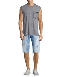 True Religion | Gray Patch-Pocket Cotton-Blend T-Shirt for Men | Lyst