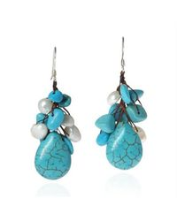 Aeravida | Blue Dangle Cluster Turquoise White Pearl .925 Silver Earrings | Lyst