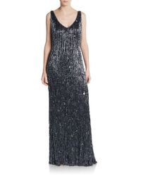 THEIA   Blue Beaded Fringed Gown   Lyst