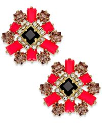 kate spade new york | Red Gold-tone Stone And Crystal Floral Cluster Earrings | Lyst