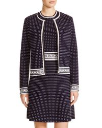 Tory Burch | Blue Zip Front Dot Cardigan | Lyst