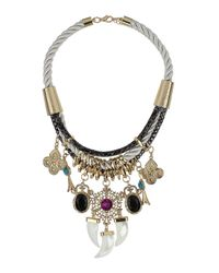 TOPSHOP - Multicolor Triple Tusk Embellished Cord Necklace - Lyst