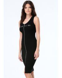 Bebe Black Logo Ribbed Zip Midi Dress