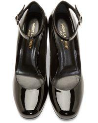 Saint Laurent Black Patent Leather Mary Jane Heels