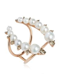 Annoushka | Pink Rose Gold Diamond And Pearl Ring | Lyst