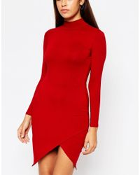 ASOS | Red Petite Asymmetric Polo Bodycon Dress | Lyst