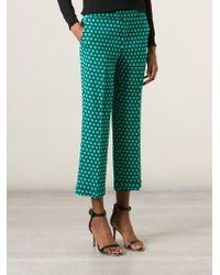 Etro Green Geometric Print Trousers
