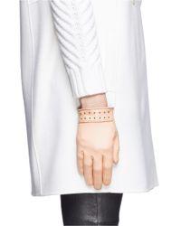 Alexander McQueen Pink Stud Cuff Short Leather Gloves