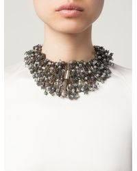 Night Market - Gray Beaded Floral Necklace - Lyst
