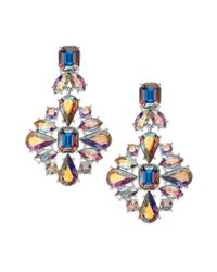 kate spade new york Metallic Gold-tone Iridescent Glass Stone Chandelier Earrings