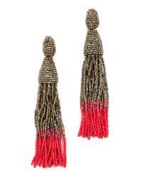 Oscar de la Renta - Red Ombre Tassel Clip On Earrings - Lyst