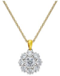 Marchesa | Metallic Diamond Pendant In 18k Gold & White Gold (3/4 Ct. T.w.) | Lyst